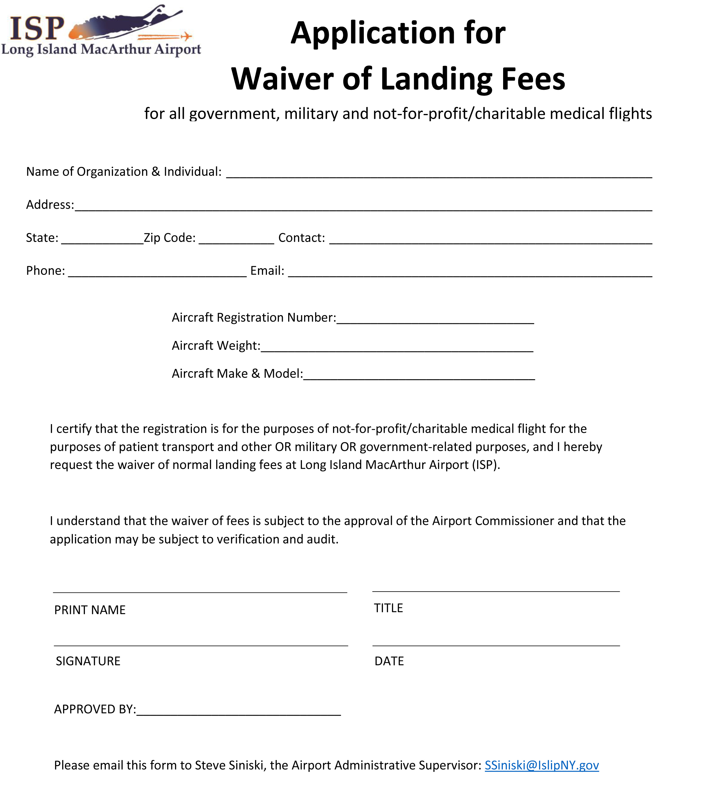 This image is of an application for a waiver fee of general aviation landing fees
