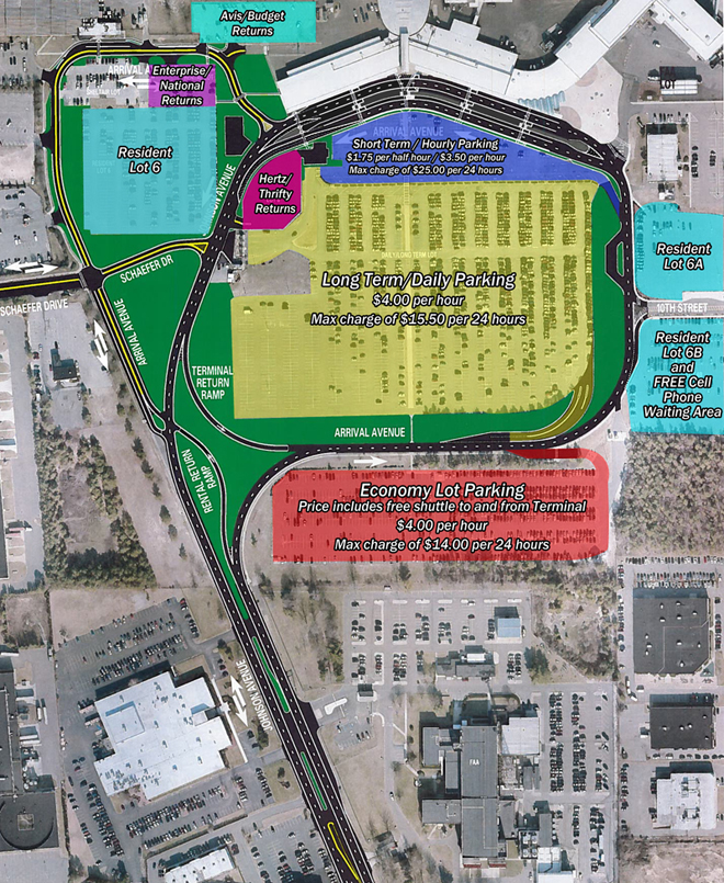 This image is a map of the Airport's Parking Lots with rates